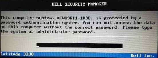 dell latitude e6420 with the password authentication system